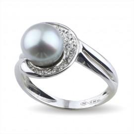 Anello con perla e diamanti in oro 750