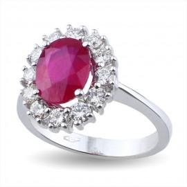 Anello fiore con rubino e diamanti