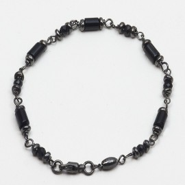 Bracciale in argento 925 rodiato nero con spinello nero naturale e onice