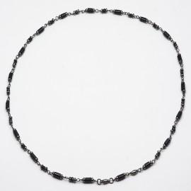 Collana in argento 925 rodiato nero con spinello nero naturale e onice