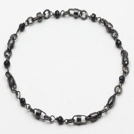 Bracciale in argento 925 rodiato nero con spinello nero naturale