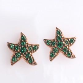 Orecchini stella marina in oro rosa 750 e smeraldo sintetico