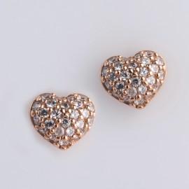 Orecchini cuore in oro rosa 750 e cubic zirconia