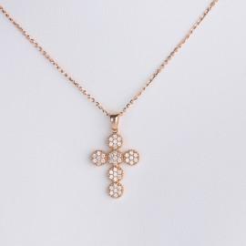 Girocollo croce in oro rosa 750 e cubic zirconia