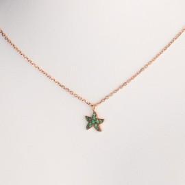 Girocollo stella marina in oro rosa 750 e smeraldo sintetico