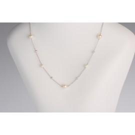 Girocollo perle e cubic zirconia in oro bianco