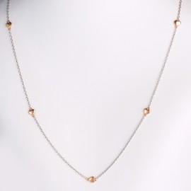 Girocollo cuori in oro bianco e rosa 750
