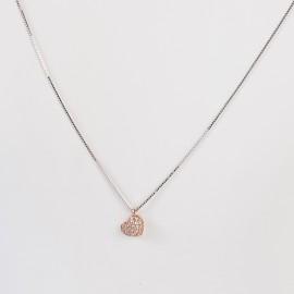 Girocollo cuore in oro 750 bianco e rosa con cubic zirconia
