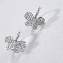 Orecchini farfalla in oro bianco 750 e diamanti carati 0.76