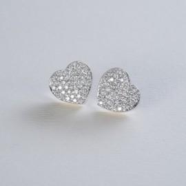 Orecchini a cuore in oro bianco e diamanti carati 0.93