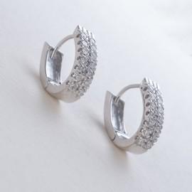 Orecchini in oro bianco 750 e diamanti carati 0.74
