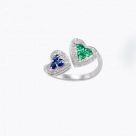 Anello con cuori in oro bianco con zaffiri smeraldi e diamanti