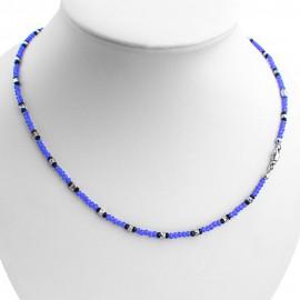 Collana argento 925 con cristalli sfaccettati azzurri