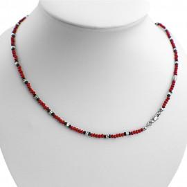 Collana argento 925 con cristalli sfaccettati rossi