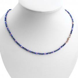 Collana argento 925 con cristalli sfaccettati blu scuro