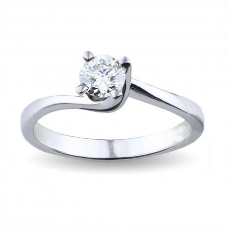 Solitario valentine in oro con diamante di carati 0.35 purezza VS2 colore E