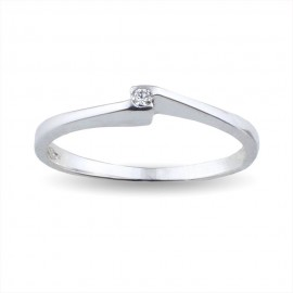Solitario contrarié in oro con diamante carati 0.03 colore H
