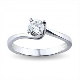 Solitario valentine in oro con diamante carati 0.35 purezza VS1 colore F