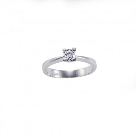 Solitario quattro griffe quadrate in oro con diamante carati 0.25 purezza VS colore G