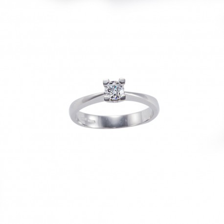 Solitario quattro griffes quadrate in oro con diamante carati 0.25 purezza VS colore G