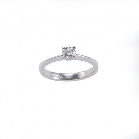Solitario quattro griffes tonde in oro con diamante carati 0.40 purezza VS colore I