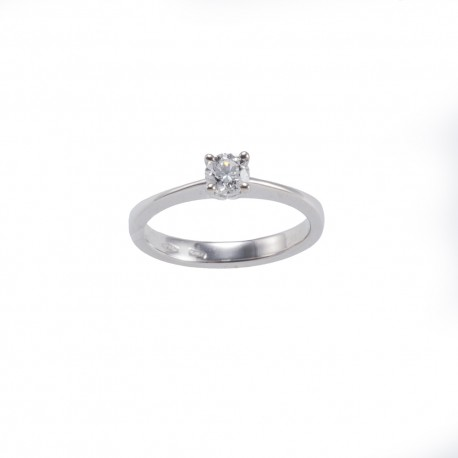 Solitario quattro griffes tonde in oro con diamante carati 0.40 purezza VS1 colore E