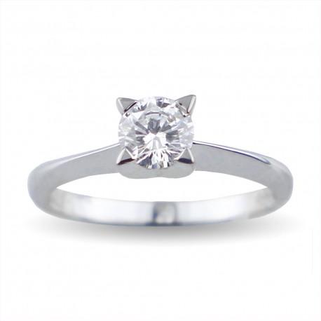 Solitario quattro griffes a forma di stella in oro con diamante carati 0.45 purezza VS1 colore I