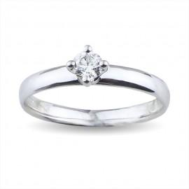 Solitario quattro griffes a forma di rombo con diamante carati 0.20 purezza VS colore I