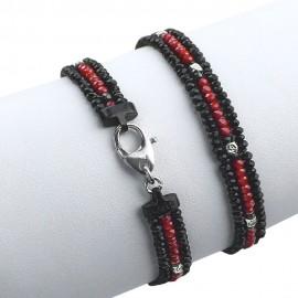 Bracciale in argento 925 triplo con cristalli sfaccettati neri e rossi