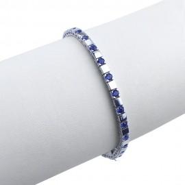 Bracciale tennis in argento 925 rodiato alternato con pietre nano cristal blu zaffiro