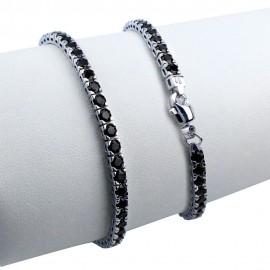 Bracciale argento pietre nano cristal nero