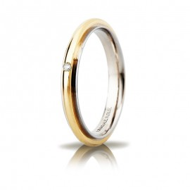 Fede UNOAERRE Andromeda Slim Oro bianco e giallo 18k con diamante carati 0,01