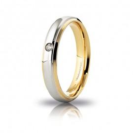 Fede UNOAERRE Cassiopea Oro bianco e giallo 18k con diamante carati 0,03
