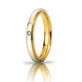 Fede UNOAERRE Cassiopea Slim Oro bianco e giallo 18k con diamante carati 0,01