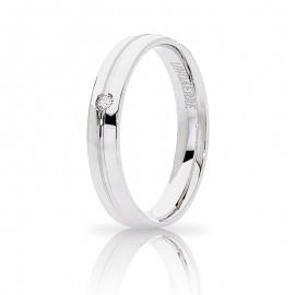 Fede UNOAERRE Lyra Oro bianco 18k con diamante carati 0,02