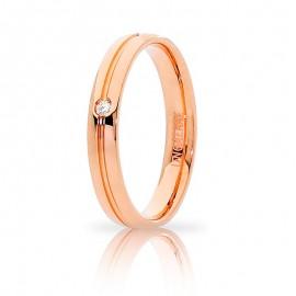 Fede UNOAERRE Lyra Oro rosa 18k con diamante carati 0,02