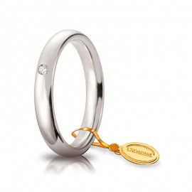 Fede UNOAERRE Comoda 3,5 mm Oro bianco 18k con diamante carati 0,03