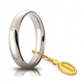 Fede UNOAERRE Comoda 4,0 mm Oro bianco 18k con diamante carati 0,03