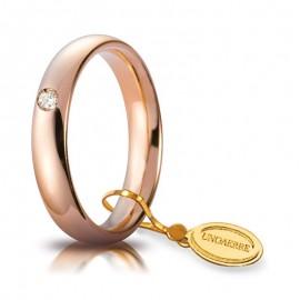 Fede UNOAERRE Comoda 4,0 mm Oro rosa con diamante carati 0,05