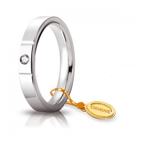 Fede UNOAERRE Cerchio di Luce 3,5 mm Oro bianco con diamante carati 0,05 da gr 5,5 a 7,7