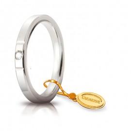 Fede UNOAERRE Cerchio di Luce 2,5 mm Oro bianco con diamante carati 0,03