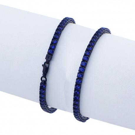 Bracciale tennis in argento 925 nero con pietre nano cristal blu spinel