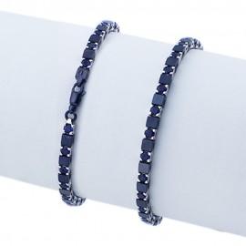 Bracciale tennis nero in argento 925 alternato con pietre nano cristal blu scuro