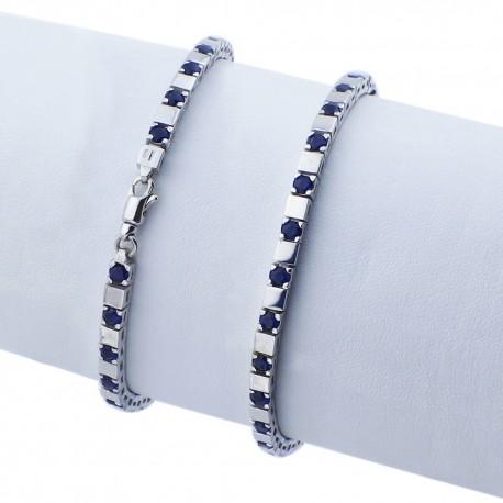 Bracciale tennis nero in argento 925 rodiato alternato con pietre nano cristal blu scuro