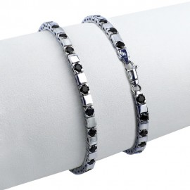 Bracciale tennis nero in argento 925 rodiato alternato con pietre nano cristal nero