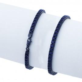 bracciale tennis in argento 925 nero con pietre nano cristal blu scuro