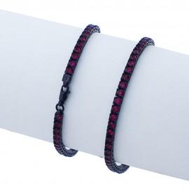 bracciale tennis in argento 925 nero con pietre nano cristal rosso rubino