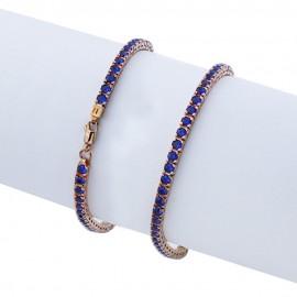 Bracciale tennis in argento 925 rosa con pietre nano cristal blu zaffiro