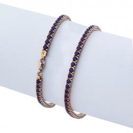 Bracciale tennis in argento 925 rosa con pietre nano cristal blu scuro