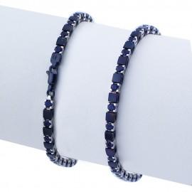 Bracciale tennis nero in argento 925 alternato con pietre nano cristal blu zaffiro